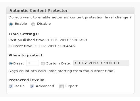 Wishlist AutoProtect-settings