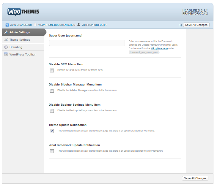 Headlines Framework Settings