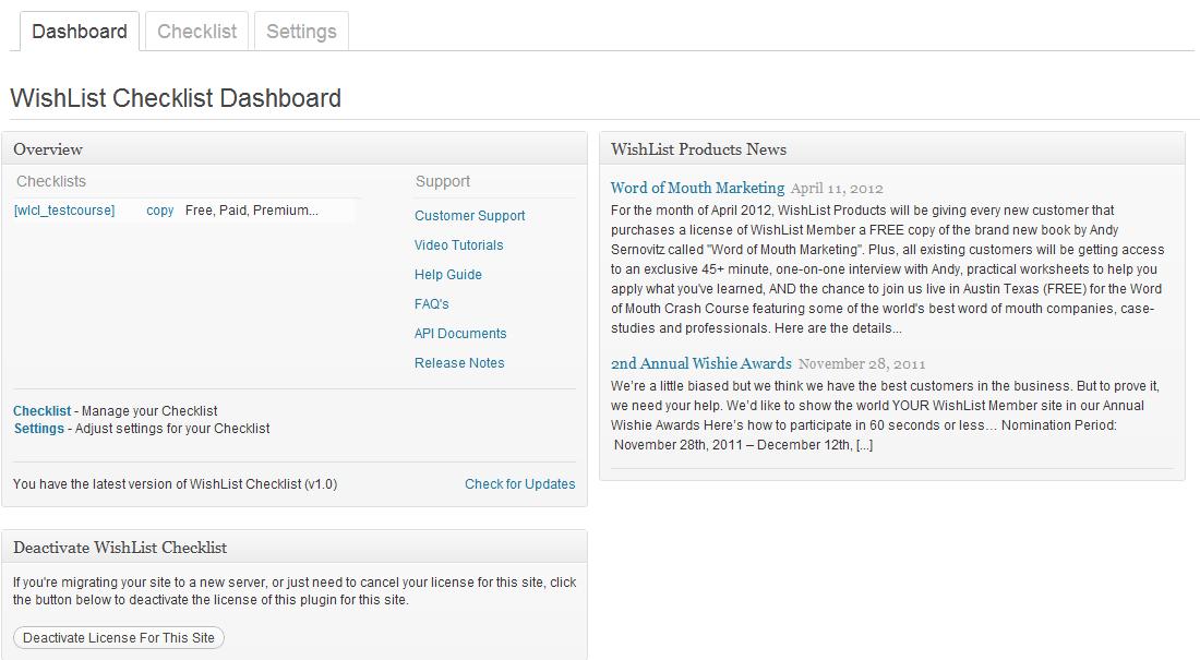 Wishlist Checklist - Dashboard Tab