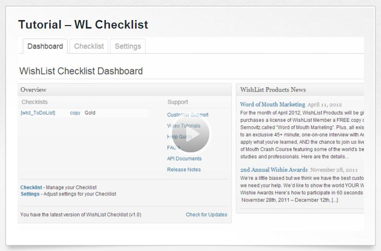 Wishlist Checklist Tutorial
