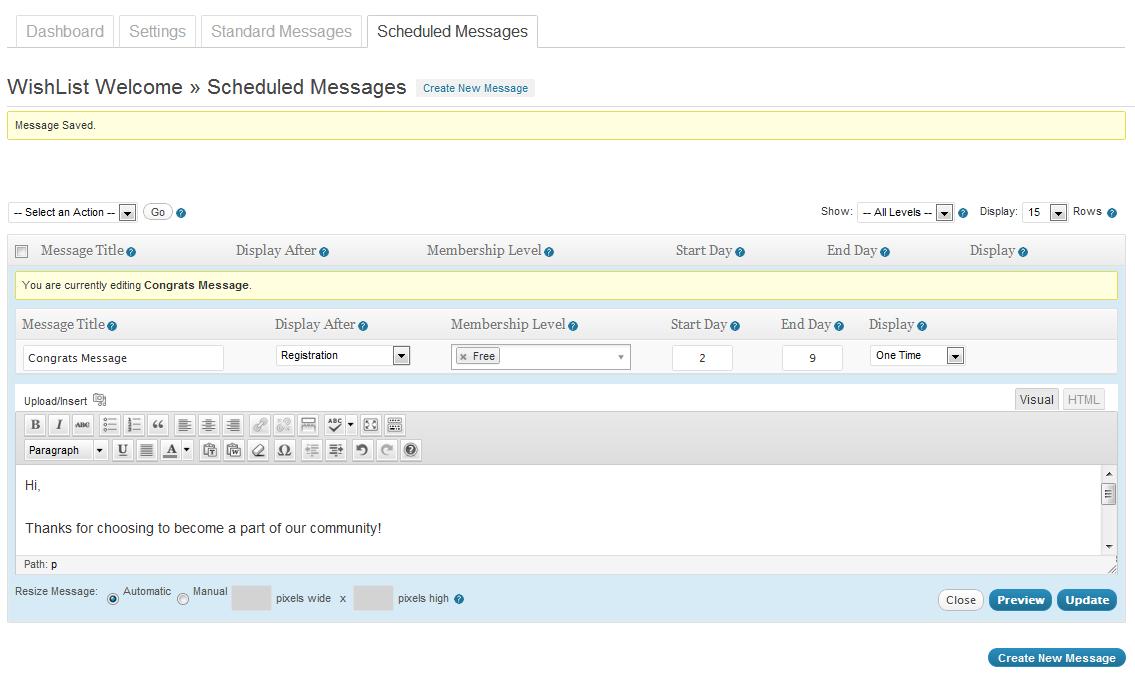Wishlist Welcome Scheduled Message
