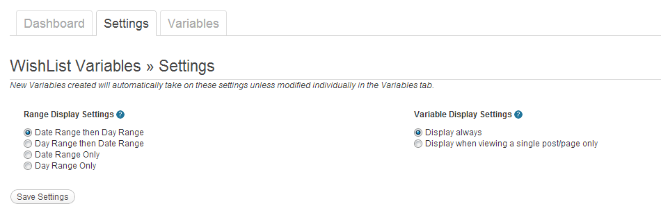 Wishlist Variables