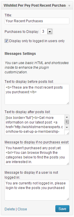 Wishlist Pay Per Post Shortcodes Widget