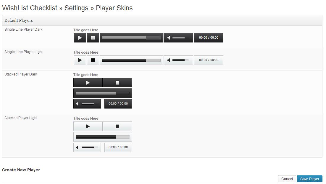 Wishlist Audio Player Settings