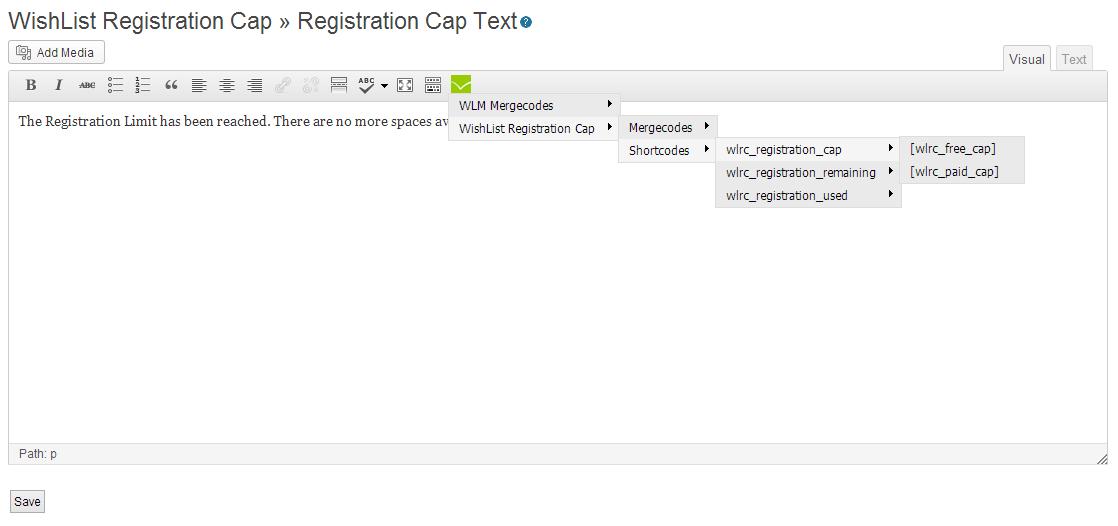 Wishlist Registration Cap Shortcodes