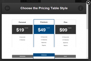 OptimizePress Pricing Tables Options