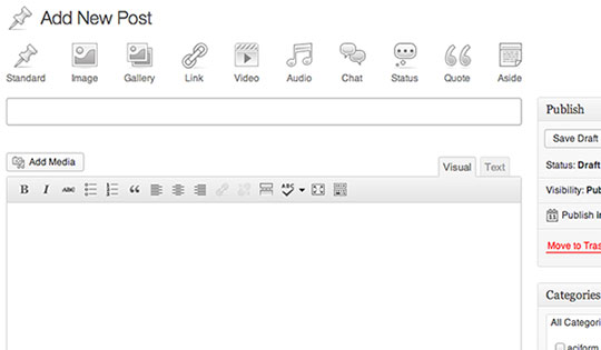 Wordpress 3.6 Post Formats UI