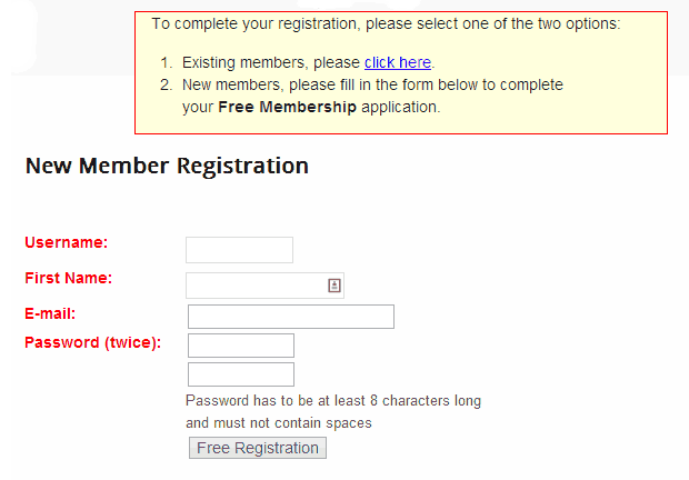 Wishlist Member Registration Form Old