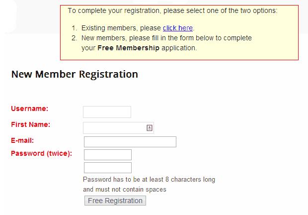 Wishlist Member Registration Form Old