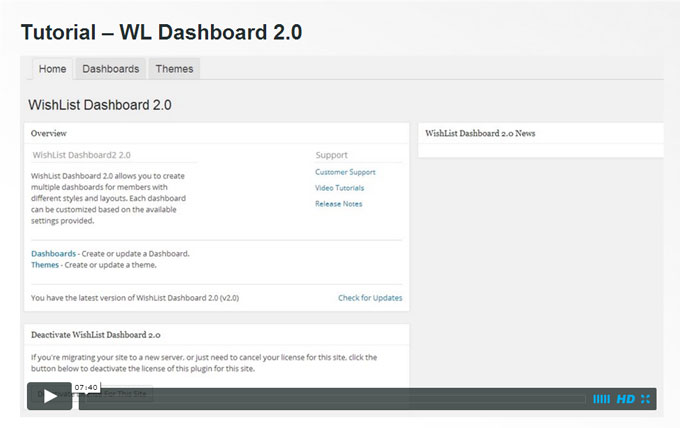 Wishlist Dashboard 2.0 for Wishlist Member Plugin