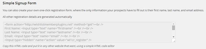 Wishlist 1Click Registration Signup Form