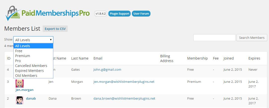 Managing Member with Paid Memberships Pro