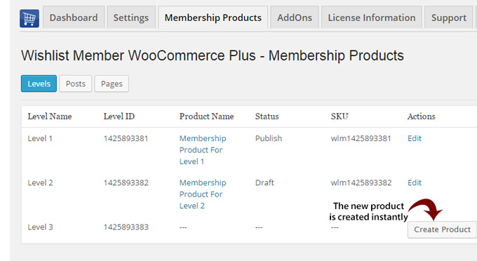 Create New Membership Products in One Click