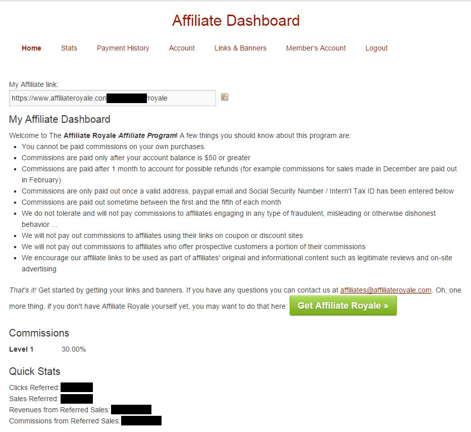 Affiliate Royale Affiliates Panel Overview