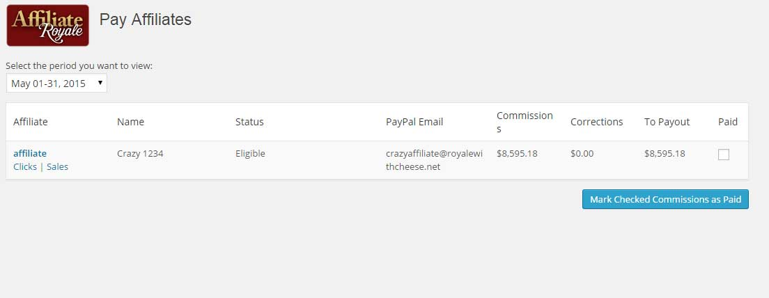 Paying Affiliates with Affiliate Royale