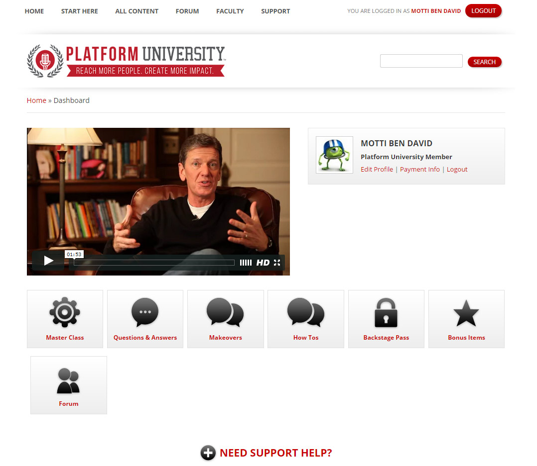 Platform University Members' Dashboard