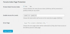 Main bbPress Forum Page Protection Settings