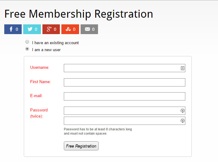 Free Wishlist Member Registration Form