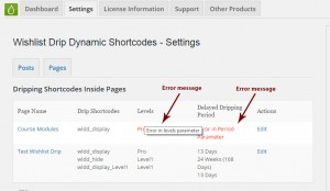 Wishlist Drip Dynamic Shortcodes Summary Table