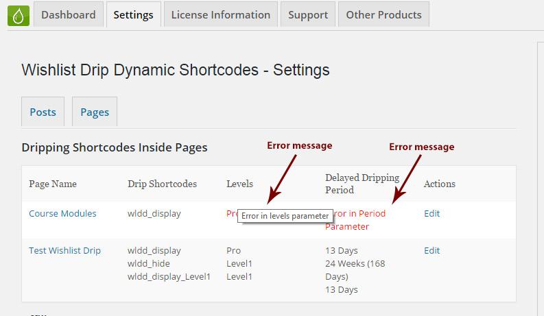 Wishlist Drip Dynamic Shortcodes Summary Table