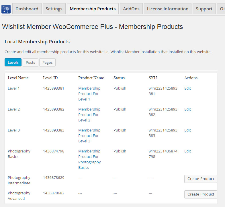 Wishlist Member WooCommerce Plus - Membership Products