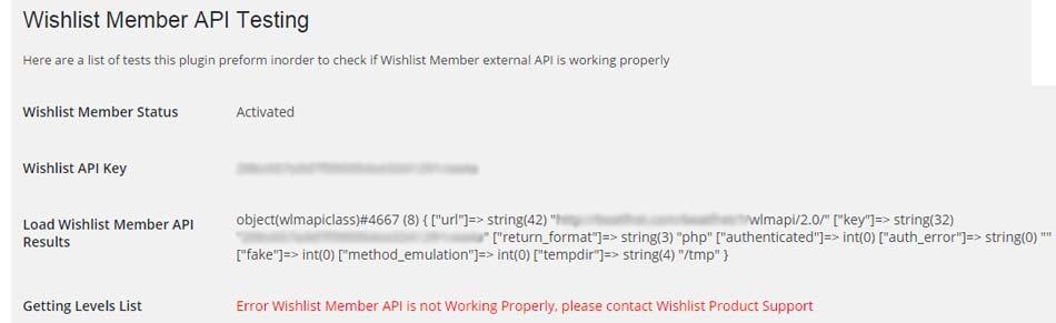 Wishlist Member API Testing Error