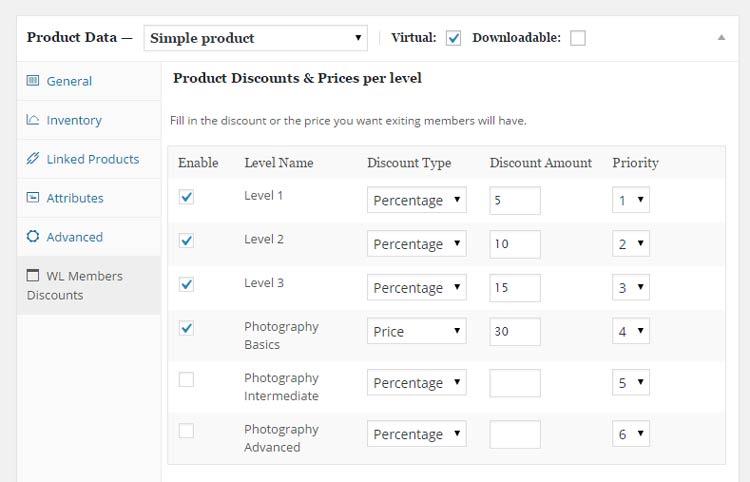 Wishlist Member WooCommerce Members Discounts - Backend settings