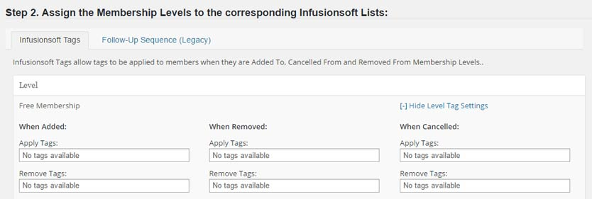 Wishlist Member InfusionSoft Integration - Autoresponder Tags Settings