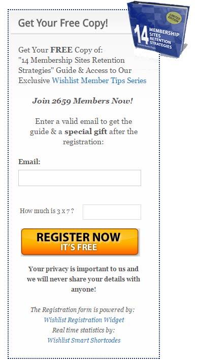 Wishlist Registration Widget Registration Form
