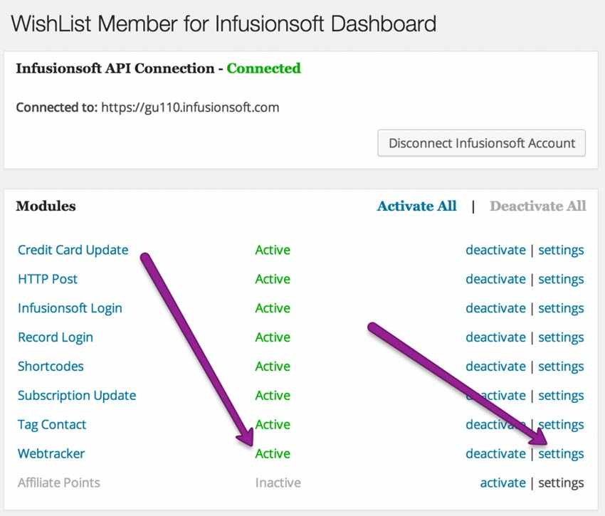 Wishlist Member for InfusionSoft modules