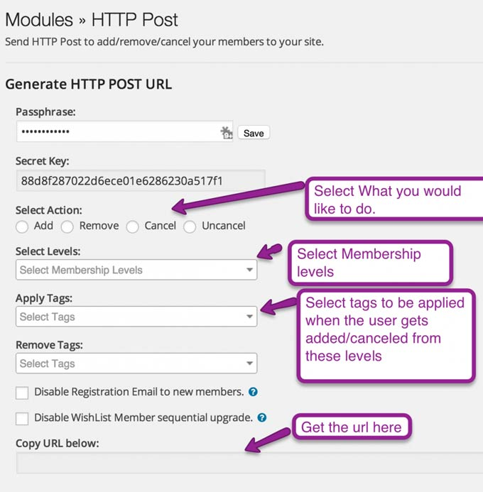 Wishlist Member for InfusionSoft - HTTP Post Module
