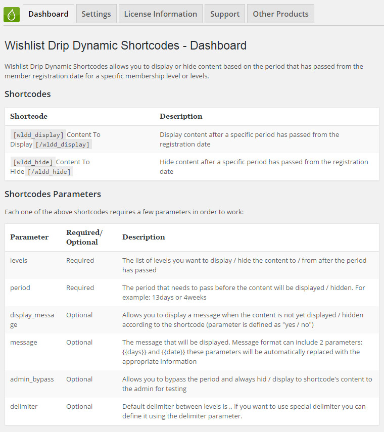Wishlist Drip Dynamic Shortcodes - Dynamic Shortcodes Dashboard