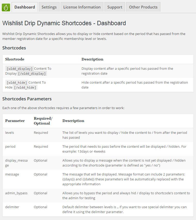 Wishlist Drip Dynamic Shortcodes - Dynamic Shortcodes Dashboard