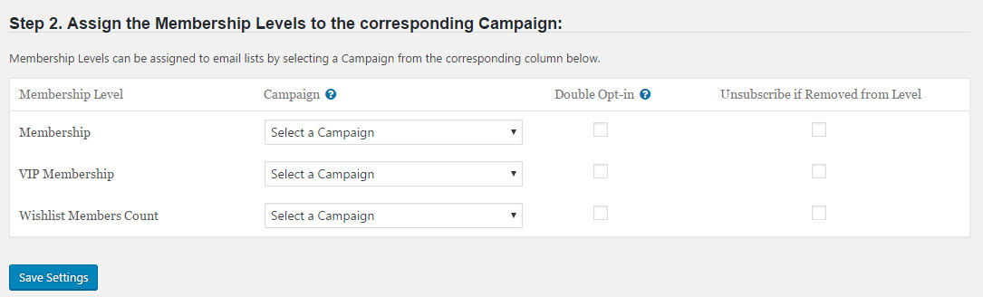 Wishlist Member Drip Integration - Assigning Membership Levels to Campaigns
