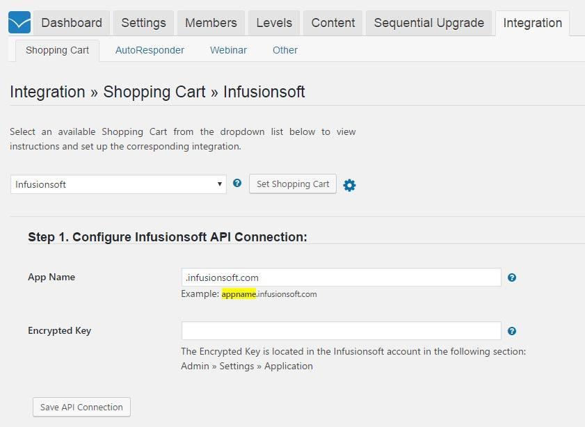 Wishlist Member InfusionSoft Integration - API Connection