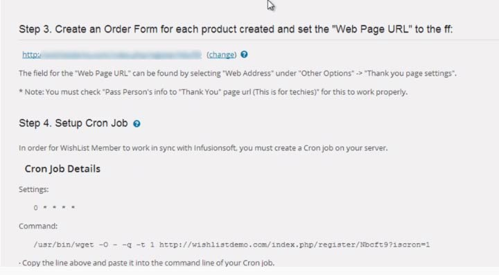 Wishlist Member InfusionSoft Integration Settings - Thank You URL