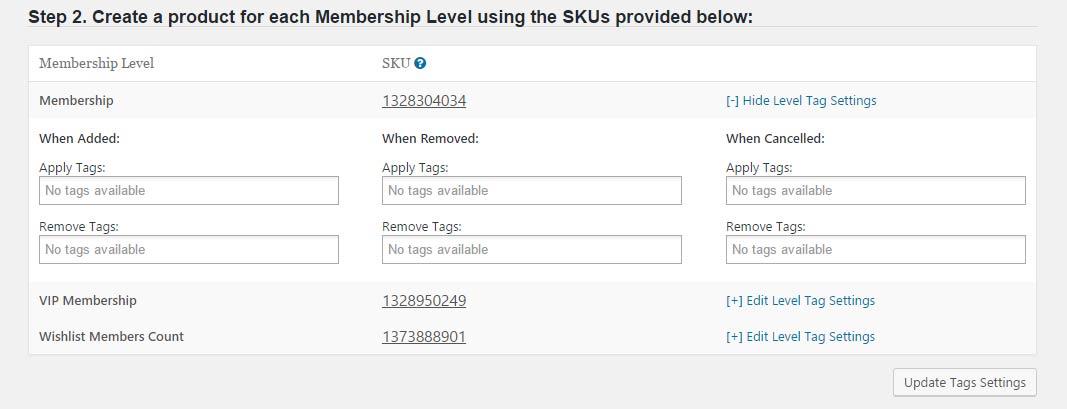 Wishlist Member InfusionSoft Integration - SKUs
