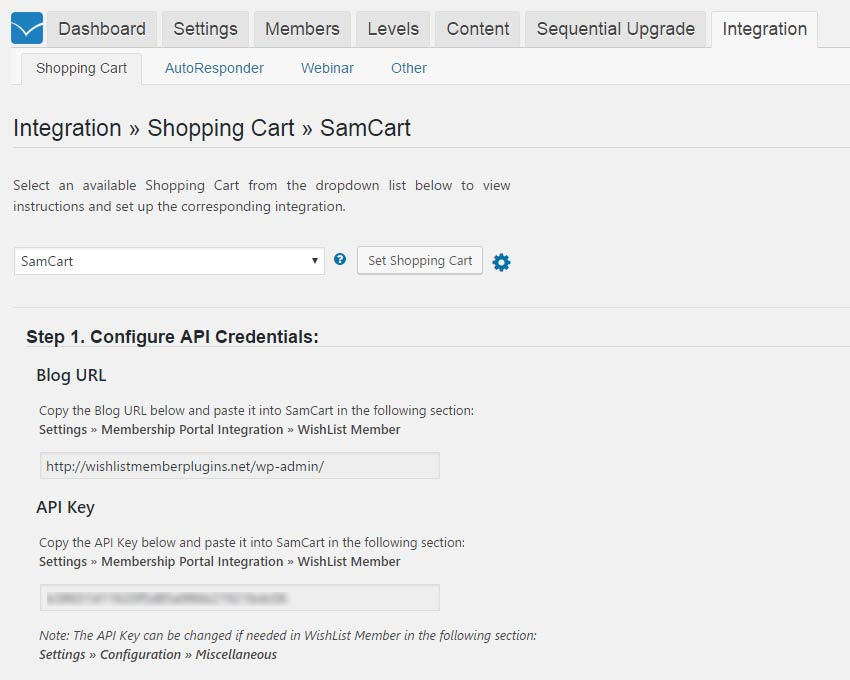 Wishlist Member SamCart Integration Settings - Step #1