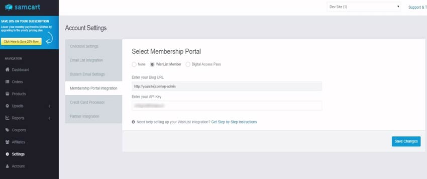 Wishlist Member SamCart Integration Settings - Step #2
