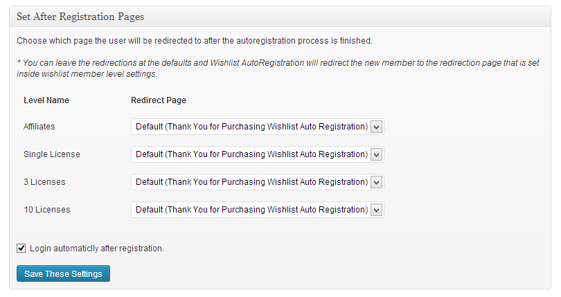 Wishlist Member After Registration Page